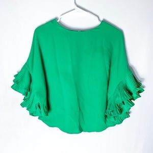 Gracia Green Flutter Sleeve Blouse